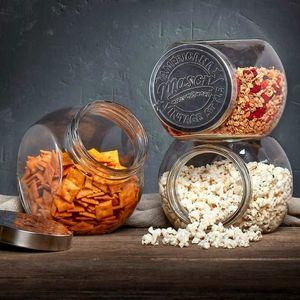 (3) 96 oz Glass Tilted Mason Jars